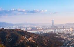 Seoul city, skyline and skyscraper, south korea. Stock Photos