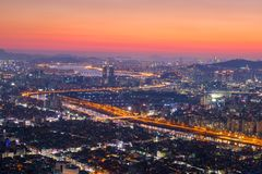 Seoul City and skyline with skyscrapers in Sunset, Han river Stock Photo