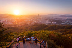 Seoul city skyline in sunset The best view at Namhansanseong Fortress. Royalty Free Stock Image