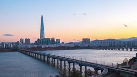 Seoul city skyline time lapse video in Seoul city, South Korea stock footage
