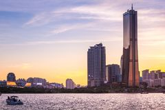 Seoul city and skyscraper, yeouido in sunset, south Korea. Royalty Free Stock Photos