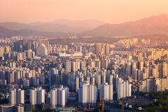 Seoul city in sunset in downtown Seoul, South Korea. stock image