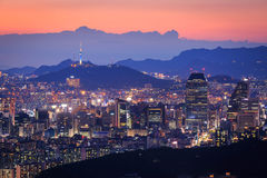 Seoul City in Sunset and downtown, South Korea. stock images