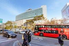 Seoul City Tour Bus at Hongdae Shopping district in Seoul city. Seoul, South Korea - March 2, 2018 : Seoul City Tour Bus at Hongdae Shopping district Stock Photos