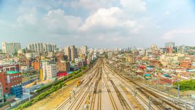 Seoul City Train Station Tracks stock video