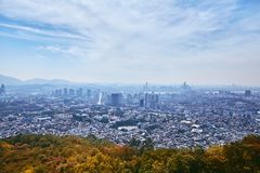 Seoul cityscape, the contrast view between city and nature. The beauty of South Korea, Seoul cityscape, contrast view between city and nature in autumn stock images