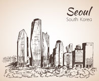 Seoul cityscape, hand drawn - South Korea. Sketch Royalty Free Stock Image