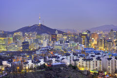 Seoul cityscape at twilight in South Korea Royalty Free Stock Image