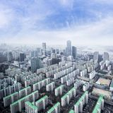 Seoul cityscapes, skyline, high rise office buildings and skyscr. Apers in Seoul city, winter daylight, top view in winter, Seoul, Republic of Korea, in mist Stock Image