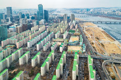Seoul cityscapes, skyline, high rise office buildings and skyscr. Apers in Seoul city, winter daylight, top view in winter, Seoul, Republic of Korea, in mist Royalty Free Stock Photography