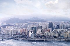 Seoul cityscapes, skyline, office buildings and skyscrapers in S Royalty Free Stock Photo
