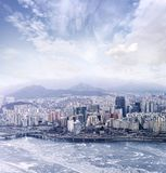 Seoul cityscapes, skyline, office buildings and skyscrapers in S Royalty Free Stock Photos