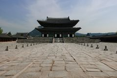 Seoul, Coreia 17 de maio de 2017: Construção do palácio de Gyeongbokgung Fotos de Stock