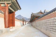 SEOUL, COREIA DO SUL - 17 de janeiro de 2017: Palácio de Gyeongbokgung, famoso Imagem de Stock