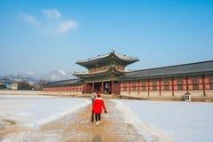 SEOUL, COREIA DO SUL - 19 DE JANEIRO: Turistas que tomam fotos Imagens de Stock Royalty Free