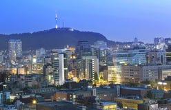 Seoul, Coreia do Sul na noite imagens de stock