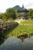 Seoul, Coreia do Sul, pagode famoso do palácio de Gyeongbok, vertical, espaço da cópia Imagem de Stock