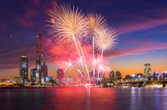 Seoul Fireworks Festival in Night city at Yeouido, South Korea. Royalty Free Stock Photos