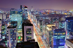 Seoul Gangnam område Royaltyfri Fotografi