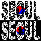 Seoul grunge text with flag Stock Photography