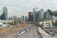 Seoul High speed KTX train traffic in Seoul City,South Korea. Royalty Free Stock Photo