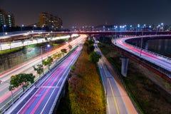 Seoul highway at night Royalty Free Stock Photo