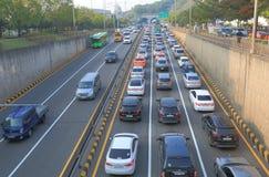Seoul highway traffic jam South Korea Royalty Free Stock Photos