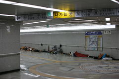 Seoul Homeless people Royalty Free Stock Images