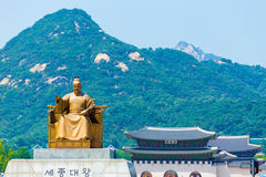 Seoul King Sae Jong Dae Statue Gyeongbokgung Stock Photo
