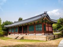 SEOUL, KOREA - APRIL 15 2018: National Folk Museum of South Korea located within the grounds of the Gyeongbokgung Palace visitors stock photo