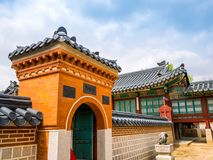 SEOUL, KOREA - APRIL 15 2018: National Folk Museum of South Korea located within the grounds of the Gyeongbokgung Palace visitors royalty free stock image