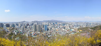 SEOUL, KOREA - APRIL 04, 2014: panoramic View of Jung-gu from Na Stock Image