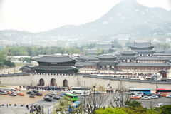 SEOUL, KOREA - April 12, 2014: View of Gyeongbock palace and Gwa Stock Images