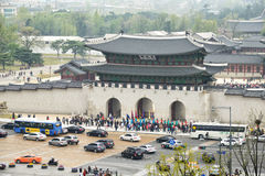 SEOUL, KOREA - April 12, 2014: View of Gyeongbock palace and Gwa Stock Photography