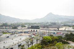 SEOUL, KOREA - April 12, 2014: View of Gyeongbock palace and Gwa Royalty Free Stock Photos