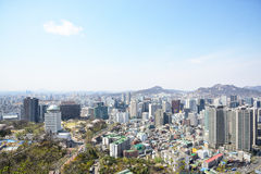 SEOUL, KOREA - APRIL 04, 2014: View of Jung-gu from Namsan in Se Royalty Free Stock Photos