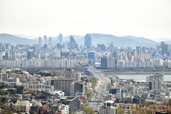 SEOUL, KOREA - APRIL 04, 2014: View of Yongsan and Gangnam from Stock Images