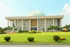 SEOUL, KOREA - AUGUST 14, 2015: National Assembly Proceeding Hall - South Korean capitol building- located on Yeouido island - Seo. SEOUL, KOREA - AUGUST 14 Royalty Free Stock Photography
