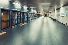 SEOUL, KOREA - AUGUST 12, 2015: Empty subway platform at Songang University station - Seoul, Republic of Korea. SEOUL, KOREA - AUGUST 12, 2015: Empty subway Stock Photography