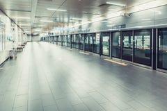 SEOUL, KOREA - AUGUST 12, 2015: Empty subway platform at Songang University station - Seoul, South Korea. SEOUL, KOREA - AUGUST 12, 2015: Empty subway platform Stock Photo