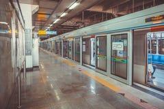SEOUL, KOREA - AUGUST 12, 2015: Empty subway platform at Yongsan station - Seoul, South Korea. SEOUL, KOREA - AUGUST 12, 2015: Empty subway platform at Yongsan Royalty Free Stock Image