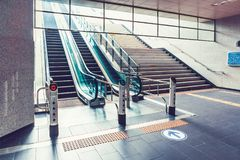 SEOUL, KOREA - AUGUST 12, 2015: Escalators stairway of one of subway stations exits in Seoul, South Korea. SEOUL, KOREA - AUGUST 12, 2015: Escalators stairway of Stock Photo