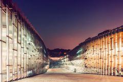 SEOUL, KOREA - AUGUST 12, 2015: Ewha Womans University library building at night time - prestigious school in Seoul, South Korea. SEOUL, KOREA - AUGUST 12, 2015 Stock Photo