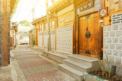 SEOUL, KOREA - AUGUST 09, 2015: Houses of resedential area at Seochon Hanok Village in Seoul, South Korea Stock Image