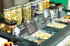 SEOUL, KOREA - AUGUST 09, 2015: Lots of herbal teas sold at Seochon area of Seoul, South Korea Royalty Free Stock Images