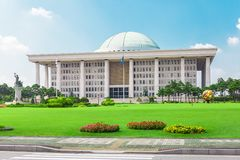 SEOUL, KOREA - AUGUST 14, 2015: National Assembly Proceeding Hall - South Korean capitol building - located on Yeouido island - Se. SEOUL, KOREA - AUGUST 14 Stock Photos