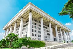 SEOUL, KOREA - AUGUST 14, 2015: National Assembly Proceeding Hall - South Korean capitol building at Yeouido island - Seoul, Repub. SEOUL, KOREA - AUGUST 14 Royalty Free Stock Image