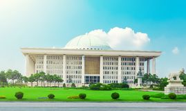 SEOUL, KOREA - AUGUST 14, 2015: National Assembly Proceeding Hall - South Korean Republic capitol building, located on Yeouido isl. SEOUL, KOREA - AUGUST 14 Royalty Free Stock Images
