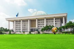 SEOUL, KOREA - AUGUST 14, 2015: National Assembly Proceeding Hall - South Korean Republic capitol, located on Yeouido island - Seo. SEOUL, KOREA - AUGUST 14 Royalty Free Stock Photography