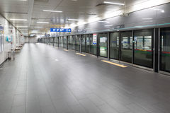 SEOUL, KOREA - AUGUST 12, 2015: Neat platform of Seoul subway system made in Seoul, South Korea on August 12, 2015 Stock Photography